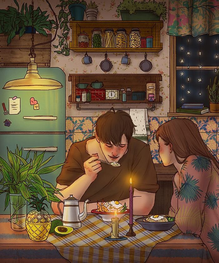 Korean Illustrator Captures The Beauty Of Falling In Love So Well You Can Almost Feel It | Romance | Relationship | Passion