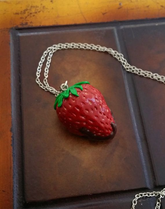 Red Strawberry Dipped In Chocolate Necklace  by EvasCreationsShop