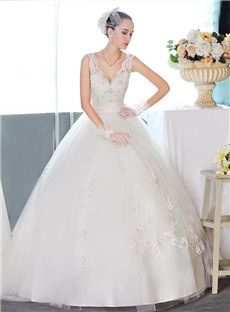 V-Neck All Sizes Appliques Spring Garden/Outdoor Hall Floor-Length Ball Gown Wedding Dress