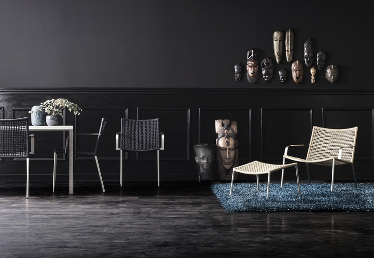 The STRAW lounge & dining chair combines the classic art of weaving with an unfailing Scandinavian expression. The woven surfaces give the lounge chair a lightweight appearance and excellent comfort. Made of stainless steel and natural or black paper yarn. Design: Foersom & Hiort-Lorenzen MDD http://ambiencestore.com/our-range/view/straw-lounge-chair/