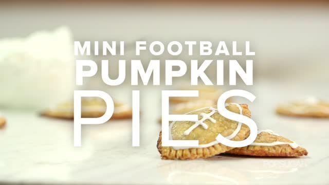 VIDEO: Kick Off Football Season With Mini Pumpkin Pies - http://cakedecoratingcoursesonline.com/cake-decorating/video-kick-off-football-season-with-mini-pumpkin-pies/