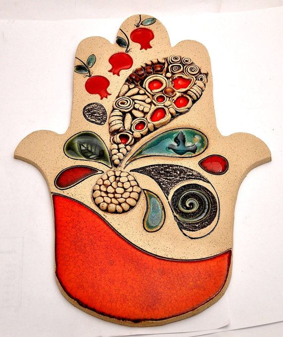 Hamsa Hand With Four leaves & Dove For Energy Luck & Success Special handmade ceramics by Siegel and Marcy arts   ( Very Large Size ) Dimensions