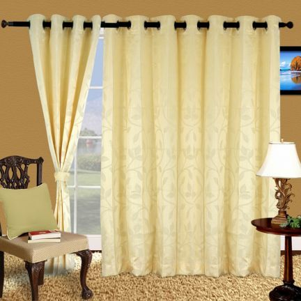 Cortina Floral Eyelet Curtain Ivory - This curtain with eyelet comes in floral patterns and the lovely ivory color is a huge plus for sure! This is made of polyester and comes in three variations too!Note: Please note that the product is being sold as a single/1 piece only. The image shown is for representational purpose only.
