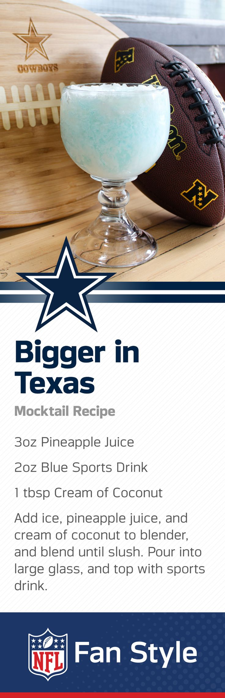 Everything is bigger in Texas, including this gigantic blue slushie. A perfect combo for a hot Dallas afternoon at the stadium or on the porch, mix up a tall order of these pineapple delicacies and win the Homegate.