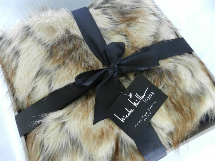 "Nicole Miller Home Faux Fur Plush Throw Blanket 50"" x 60"" NWT"