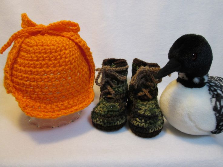 A personal favorite from my Etsy shop https://www.etsy.com/listing/201163336/baby-hunter-hunting-hat-boots-camouflage