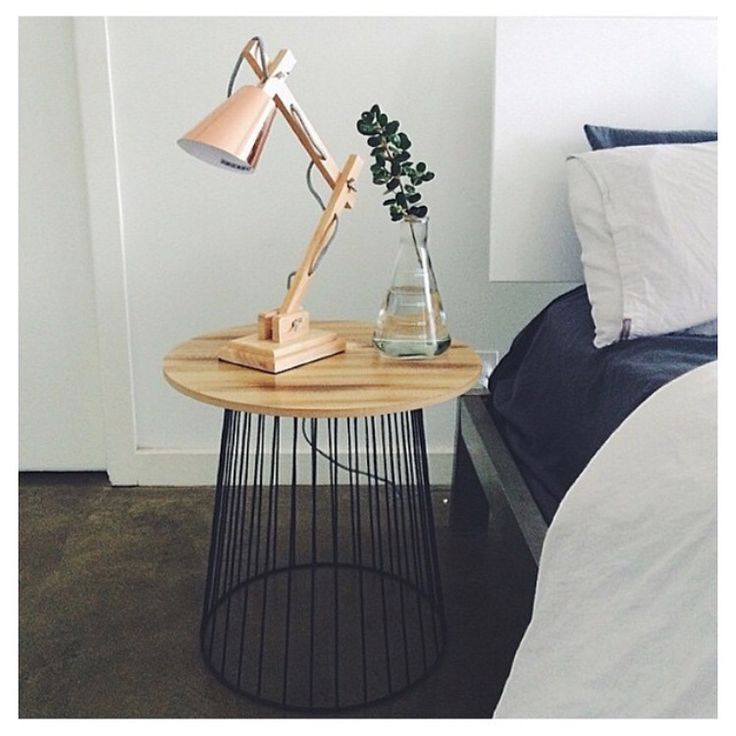 Kmart styling. Kmart copper lamp. Kmart side table. Kmart glass flask vase.