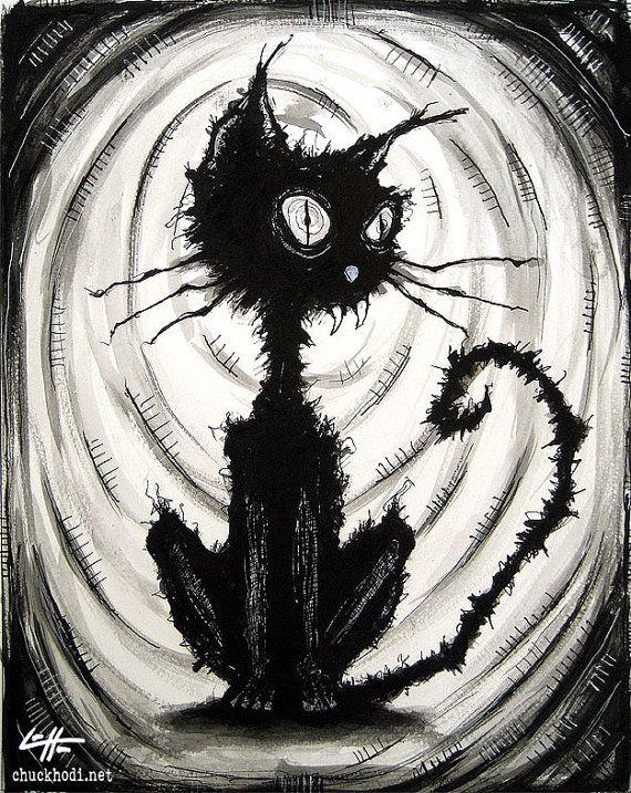 Print 8x10  Black Cat 4  Watercolor Ink Cats Animal by chuckhodi, $10.00