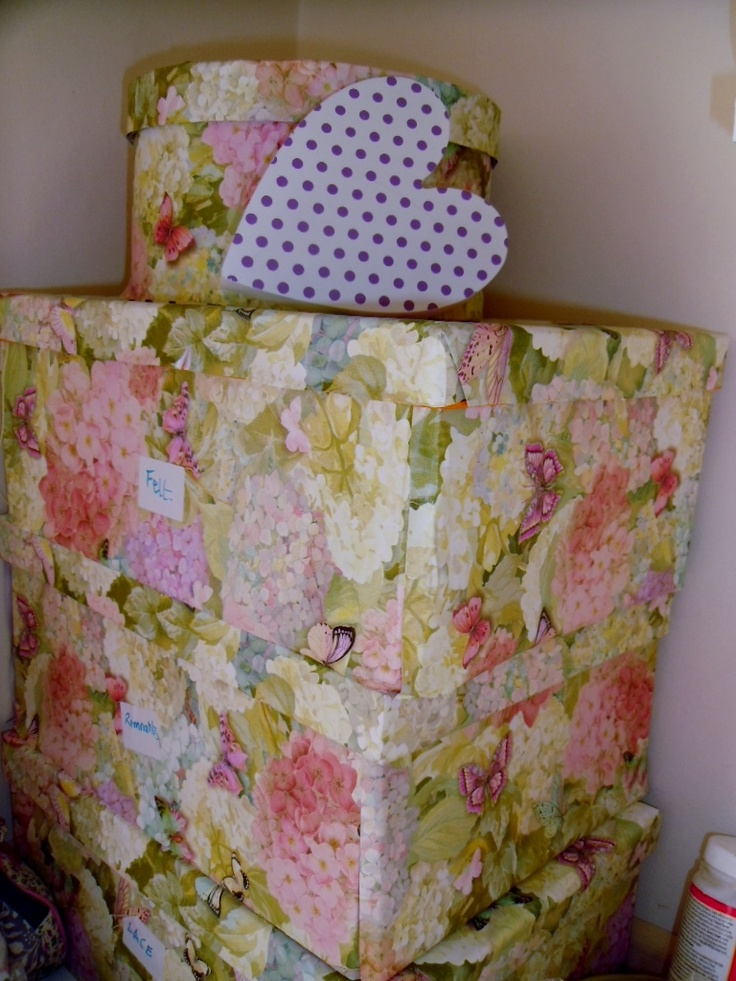 BOXES I COVERED WITH PERFUMED DRAWER LINERS AND MODGE PODGE