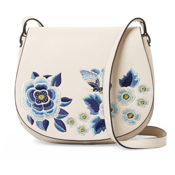 French Connection Women's Katie Embroidered Saddle Crossbody -... found on Polyvore featuring bags, handbags, shoulder bags, purses, bolsa, pink shoulder bag, tan shoulder bag, pink handbags, handbags crossbody and pink crossbody purse
