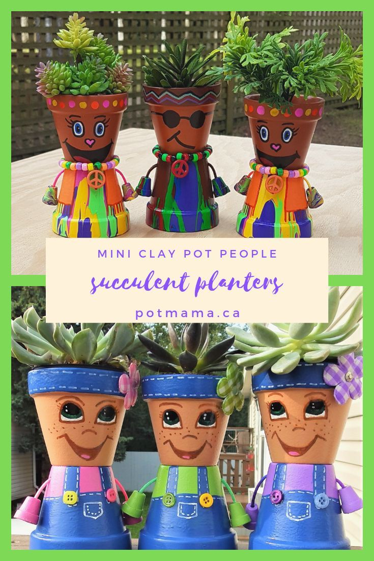 Mini Country Kid Clay Pot People Succulent Planters Etsy Clay Pot People Clay Pots Mini Clay Pot Crafts