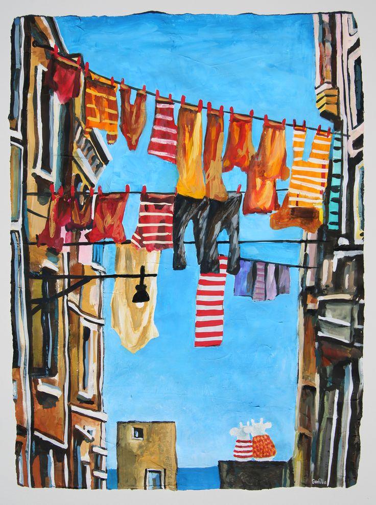 «Kveldstid ved havnen». Akryl-gouache på akvarellpapir. 56x76 cm