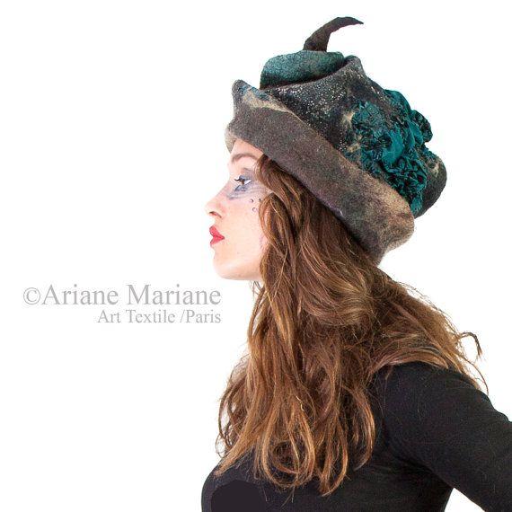 Designer women felt hat head sculpture art hat  by ArianeMariane