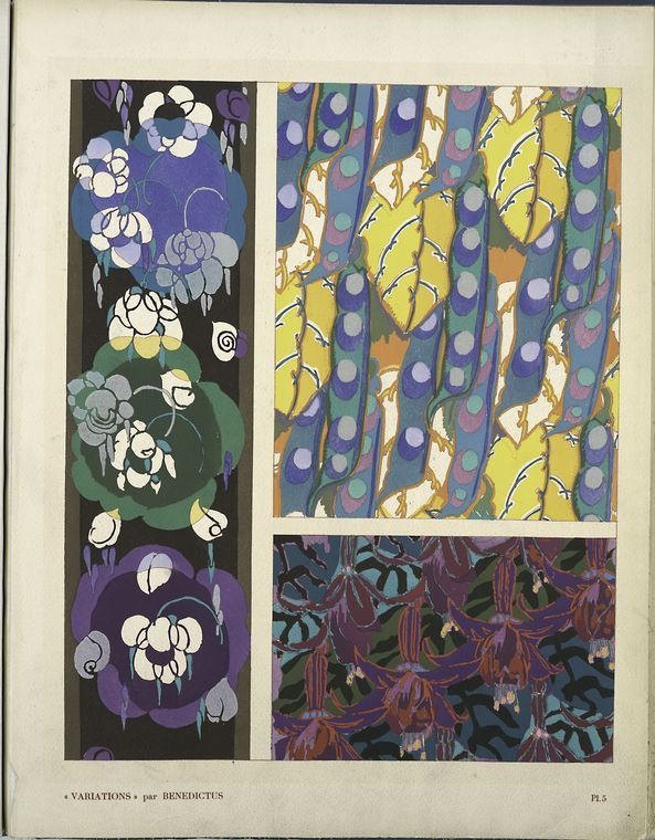 Edouard Benedictus. Pochoir. Textile design.Three floral motifs. c. 1924.  Edouard Benedictus was a multitalented man :a painter, book binder, chemist and fabric designer. In addition to his other talents, he is known as the man who invented safety glass.