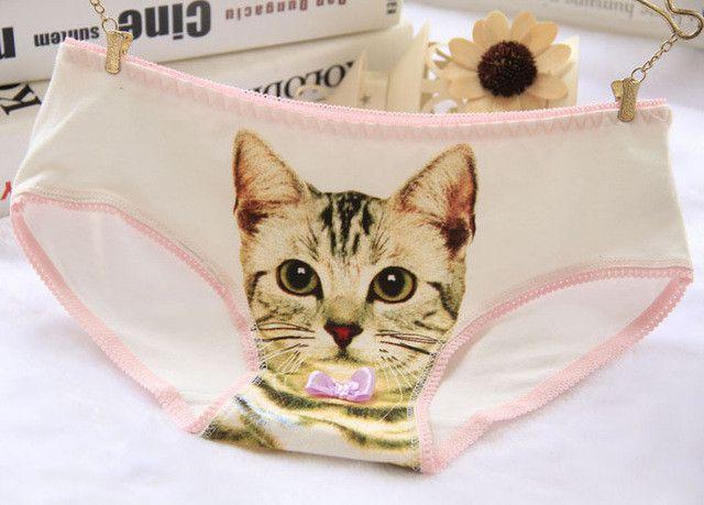 Hot Selling Cotton Panties Women's Plus Size Underwear Briefs 3D Printing Panty Cat Panties Sexy Girls Lingerie Intimates