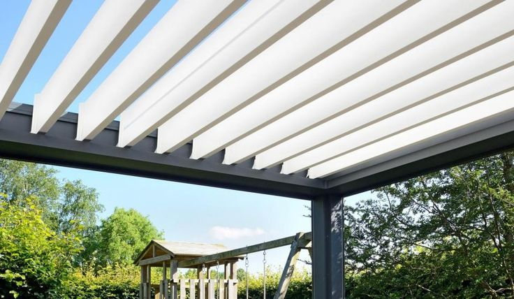 Brustor B200 louvered roof structure anthracite grey with white louvres