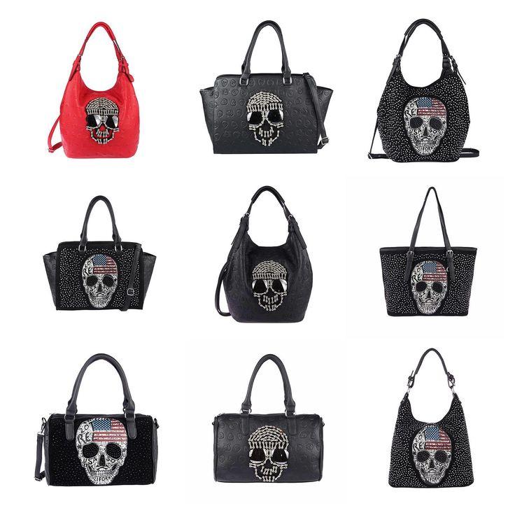 Damen Totenkopf XXL Tasche Strasssteine Glitzer Bowling Handtasche Shopper XL Synthetik Leder-wildleder – Italyshop24.com
