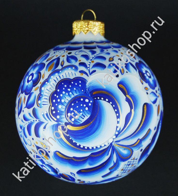 Елочный / интерьерный шар «Зимние цветы Гжель»