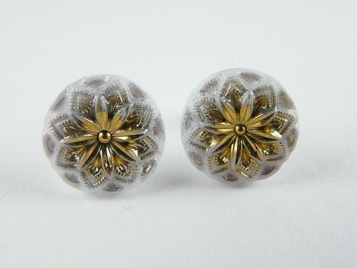 "Czech Unique Glass Earrings Stud Solid 925/1000 Sterling Silver 11mm - 7/16"" #CzechArt77 #Stud"