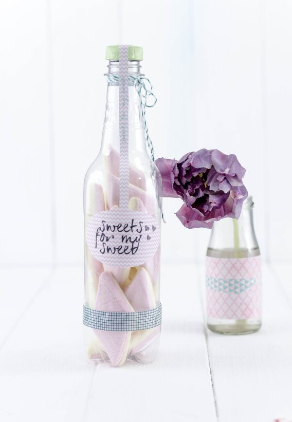 Upcycling Flaschenpost: Sweets for my sweet. Free printable  by http://titatoni.blogspot.de/