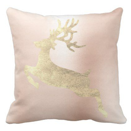 Reindeer Champaign Pink Rose Gold Blush Metallic Throw Pillow - animal gift ideas animals and pets diy customize