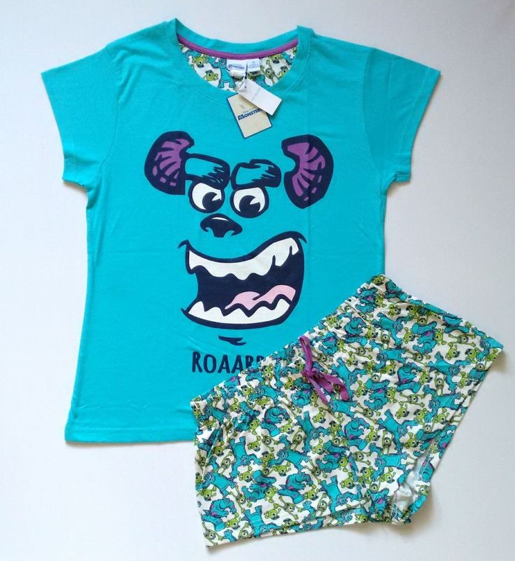 DISNEY MONSTERS INC Sulley Ladies Pyjama Set T Shirt & Shorts Primark UK 10-20 in Clothes, Shoes & Accessories, Women's Clothing, Lingerie & Nightwear | eBay