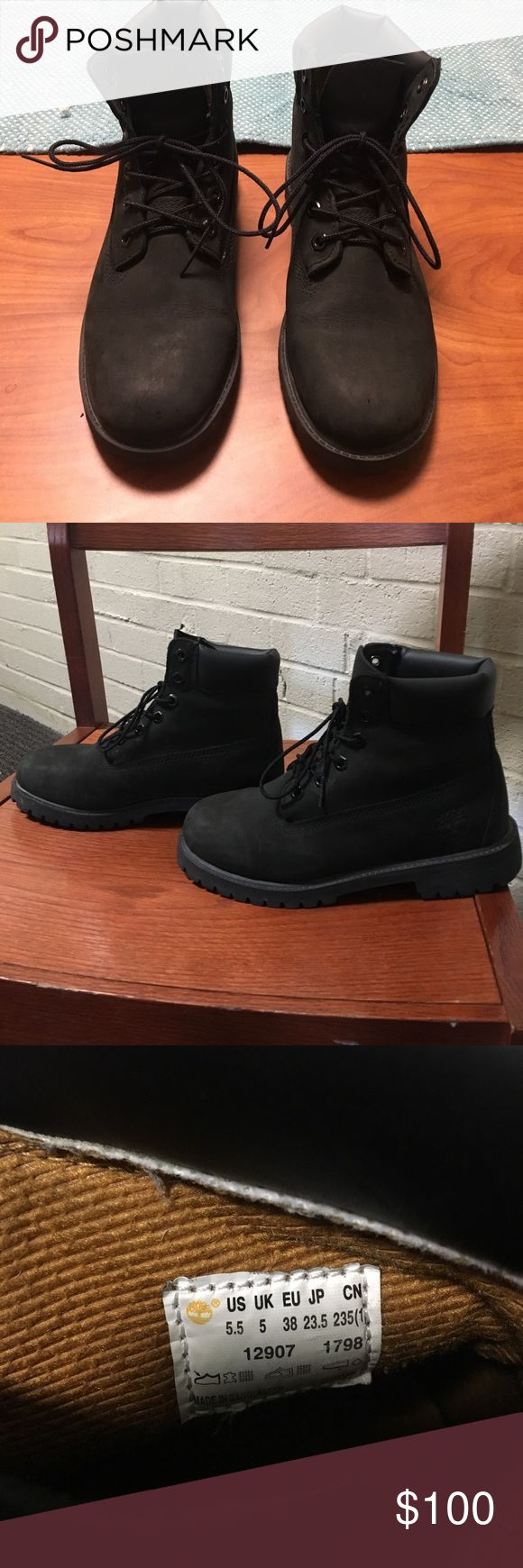 Black Timberland boots size 7.5-8 women's They have in perfect condition and have only been worn a few times. They are very comfortable and stylish for the winter! Timberland Shoes Combat & Moto Boots