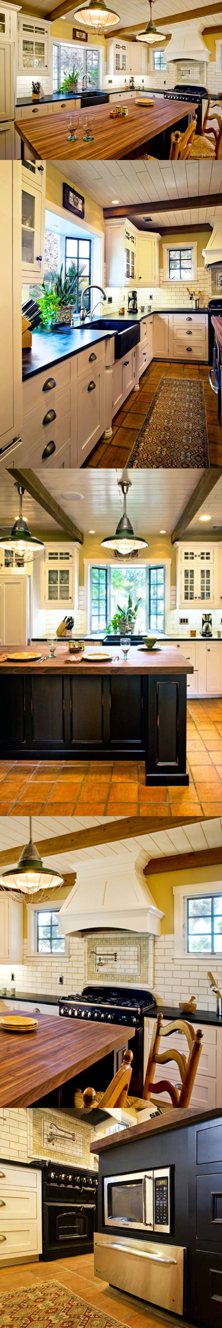 White Traditional Cottage Kitchen with Wood Countertop Kitchen Island and Subway Tile Backsplash, apron sink and kitchen island - Dura Supreme Cabinetry Kitchen Designed by Linda Williams from Hahka Kitchens.