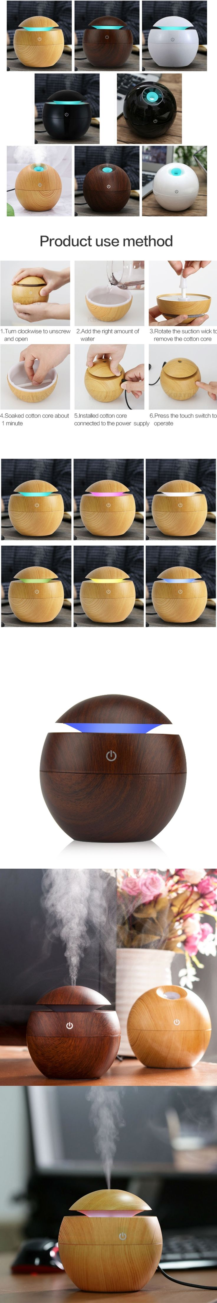 Mini Wooden Air Humidifiers Aromatherapy Ultrasonic Humidifier Oil Aroma Diffuser USB Purifier Color Changing LED Touch Switch