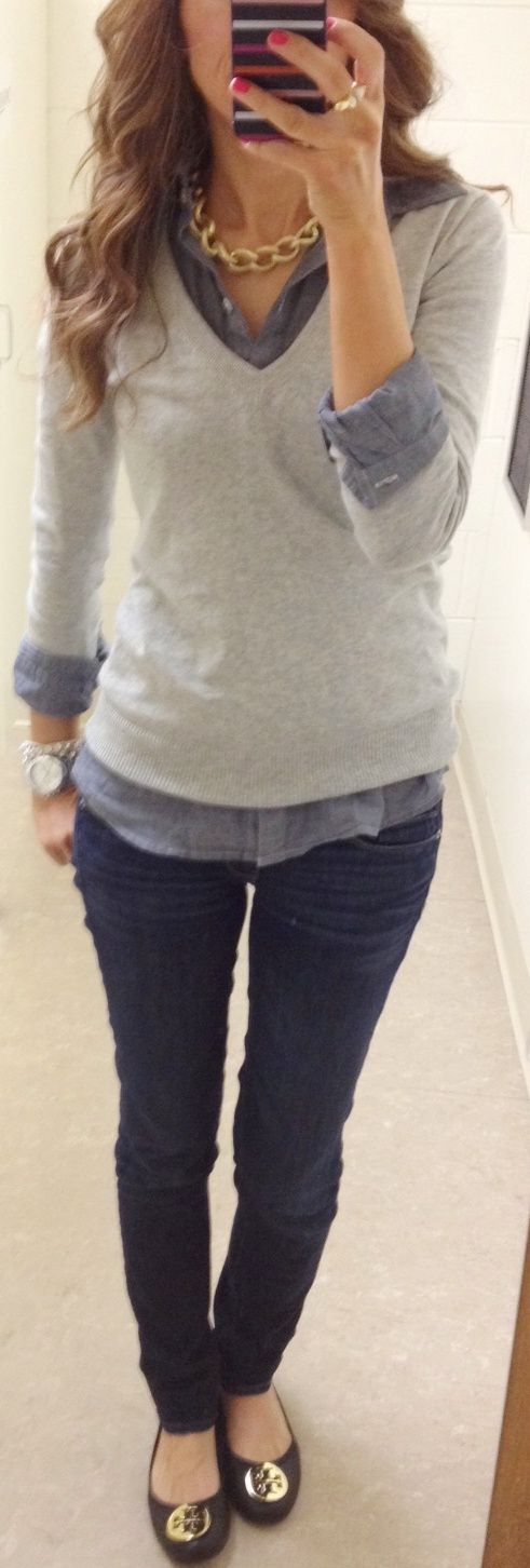 Lilly's Style: Casual Friday: Casual Friday, Casual Chic, Fall Wint, Tory Burch, Gray Sweaters, Flats, Lilly Style, Casual Outfits, Chambray