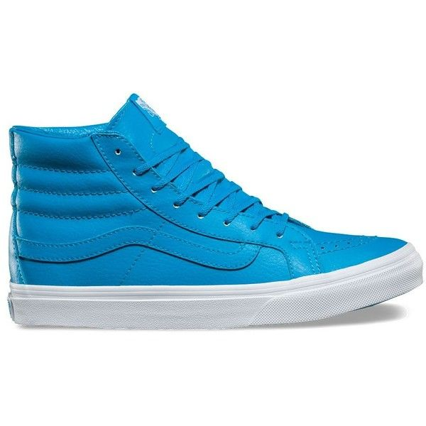 Vans Neon Leather SK8-Hi Slim ($70) ❤ liked on Polyvore featuring shoes, sneakers, blue, vans shoes, blue leather shoes, blue leather sneakers, neon high top sneakers and blue shoes
