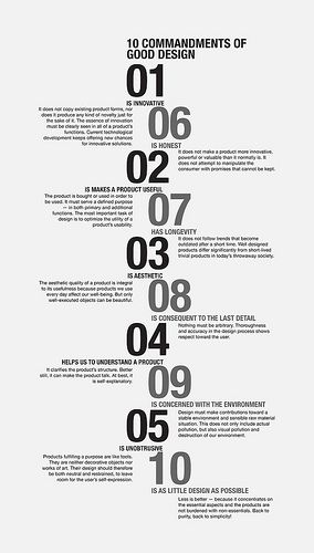 In the 1980's design god Dieter Rams expressed the ten most important criteria for what he considered was good design.