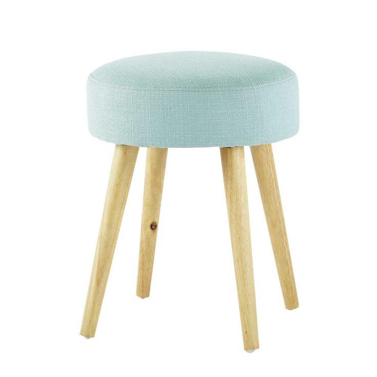 Hocker PIN'UP aus Stoff und Holz, blau