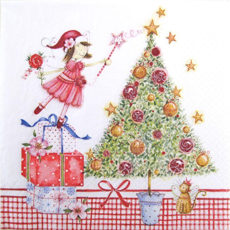 Christmas napkins, Christmas fairy, Decoupage paper napkins,Christmas tree, Christmas gifts, Set of 3 paper napkins, size 33x33cm (no.97) by ArsaiSupplies on Etsy