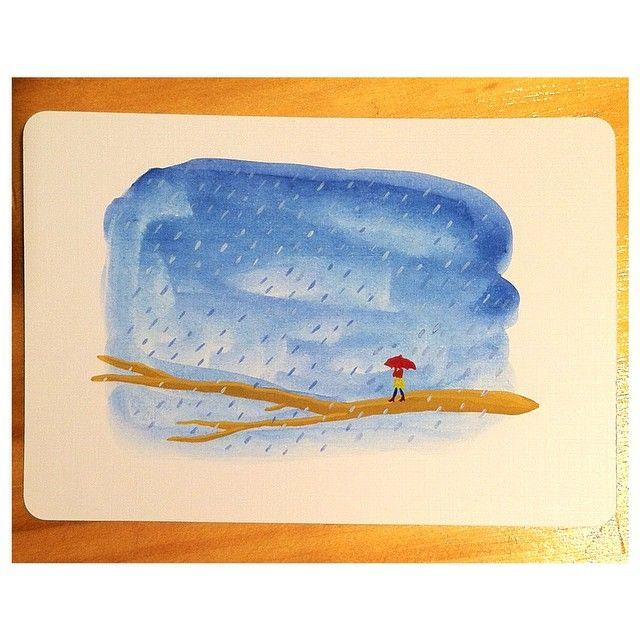 Dibujo de domingo. Mi celular dice que habrá lluvia en la semana . Valentina Orozco #ilustración #dibujo #acuarela #gouache #mini #rama #árbol #lluvia #paraguas #azul #illustration  #drawing  #watercolors #branch #tree #rain #umbrella #blue #primavera #sunday #domingo #weather