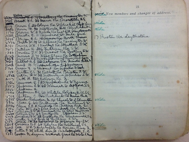handwritten entries from one of the first Union directories, circa 1910