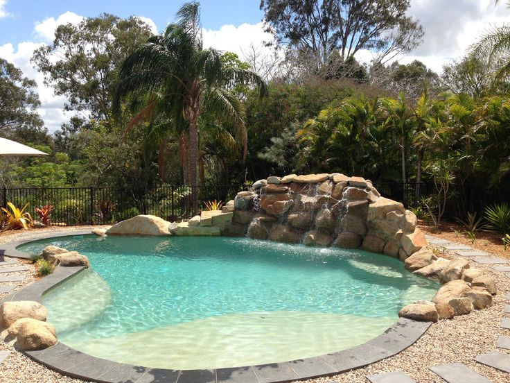 Custom Designed Pool with Rock Water Feature