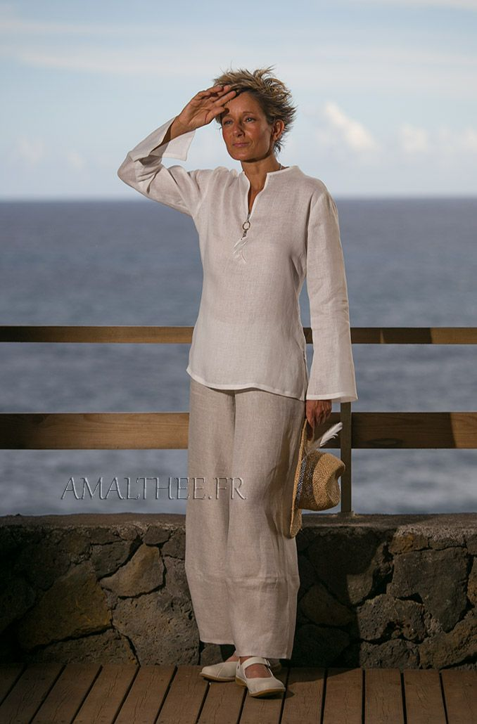 White linen blouse with oatmeal flax trousers