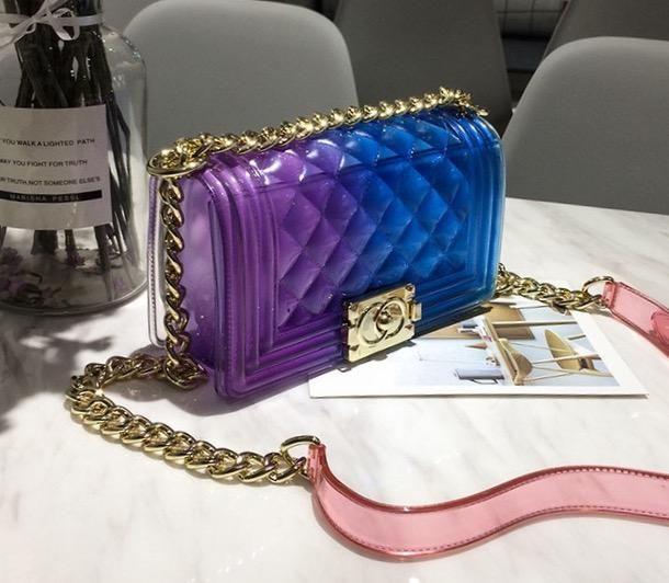 matte jelly diamond lattice bag coutureenvyboutique jellyhandbag jellypurse handbag purple blue bag p with images shoulder handbags bags designer chanel handbags pinterest
