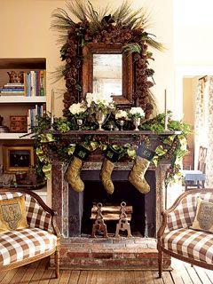 natural beauty...MantelDecor Ideas, Pine Cones, Rustic Christmas, Christmas Decor, Fireplace, Holiday Decor, Buffalo Check, Christmas Mantles, Christmas Mantels