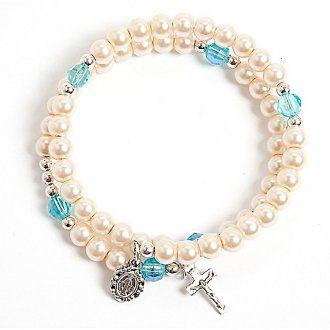 White pearlettes spring bracelet | online sales on HOLYART