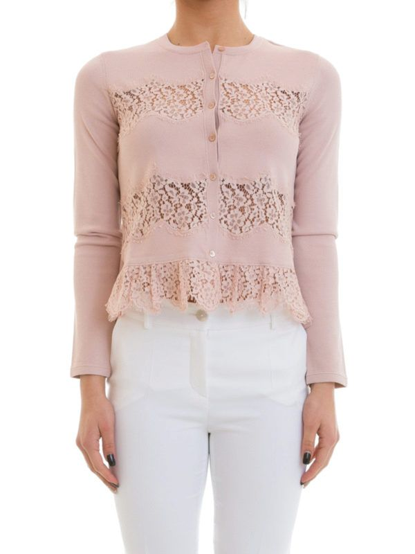 Valentino Red: cardigans online - Floral lace panelled cardigan