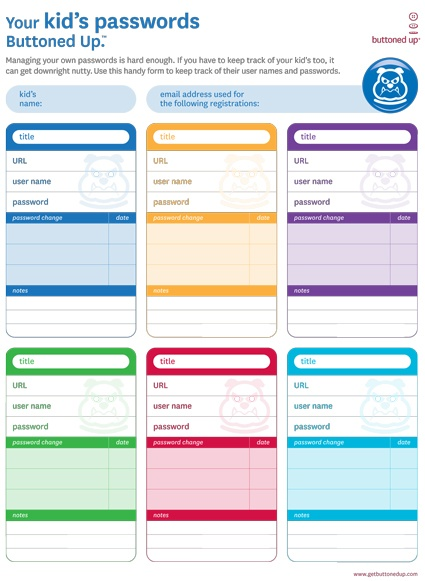 downloadable form to keep track of kids passwords   download  organization