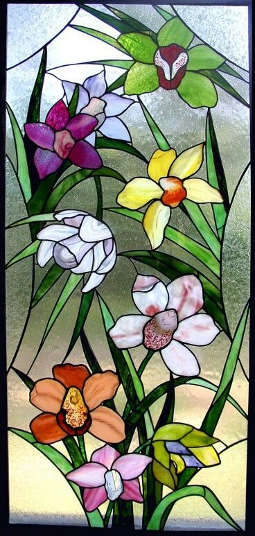 Stained-Glass: #Stained-glass flowers panel.