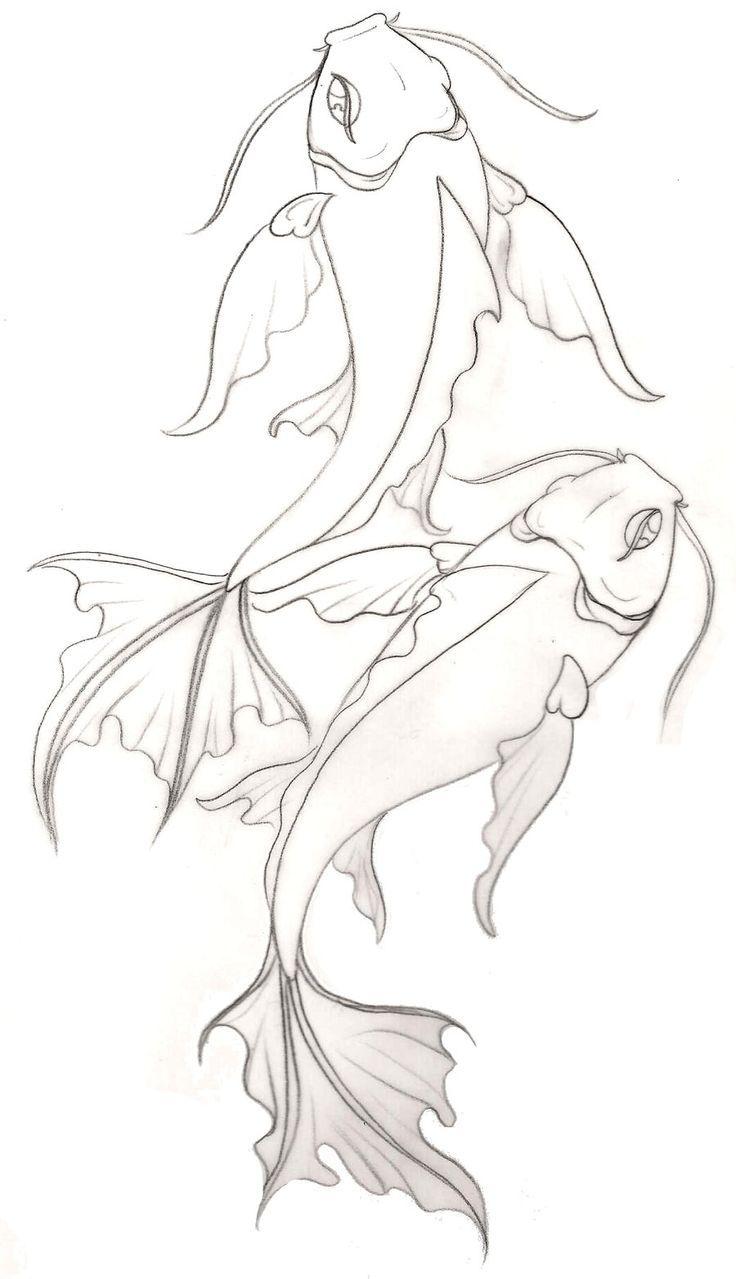 Wave Line Drawing Tattoo Koi fish tattoo (no waves) by
