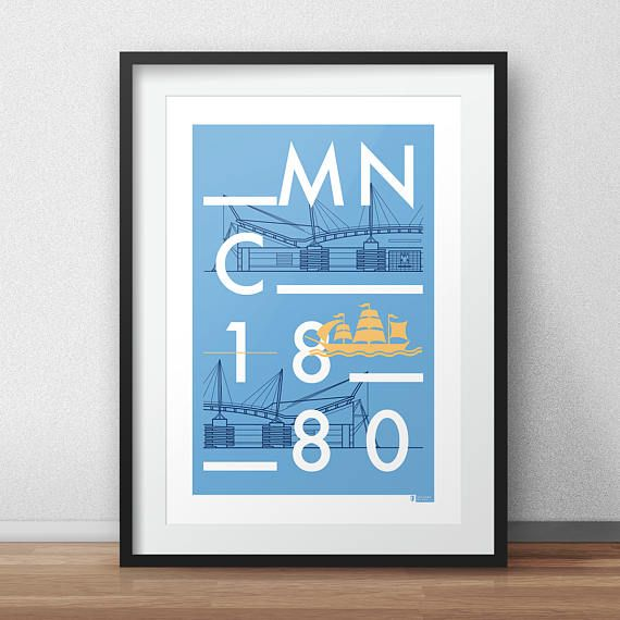 Vector typographic line art poster of Manchester City's Etihad Stadium a.k.a The City of Manchester Stadium. Designed by Dan.