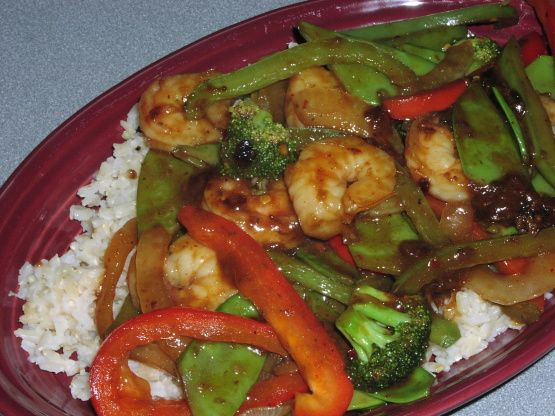 This is out of one of my Weight Watchers cookbooks called Take-Out Tonight! Both DH and I really liked this dish. You can use 1/2 shrimp and 1/2 sea scallops if you prefer. You can also replace the asparagus with broccoli florets or fresh snow peas.