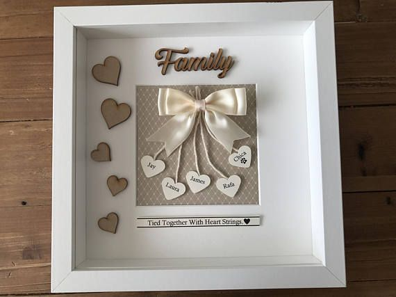 Personalised Box Family Frame family tied together by heart