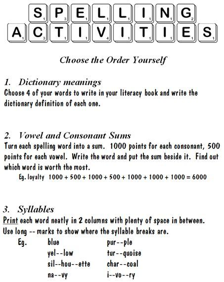 Spelling Activity Options 3