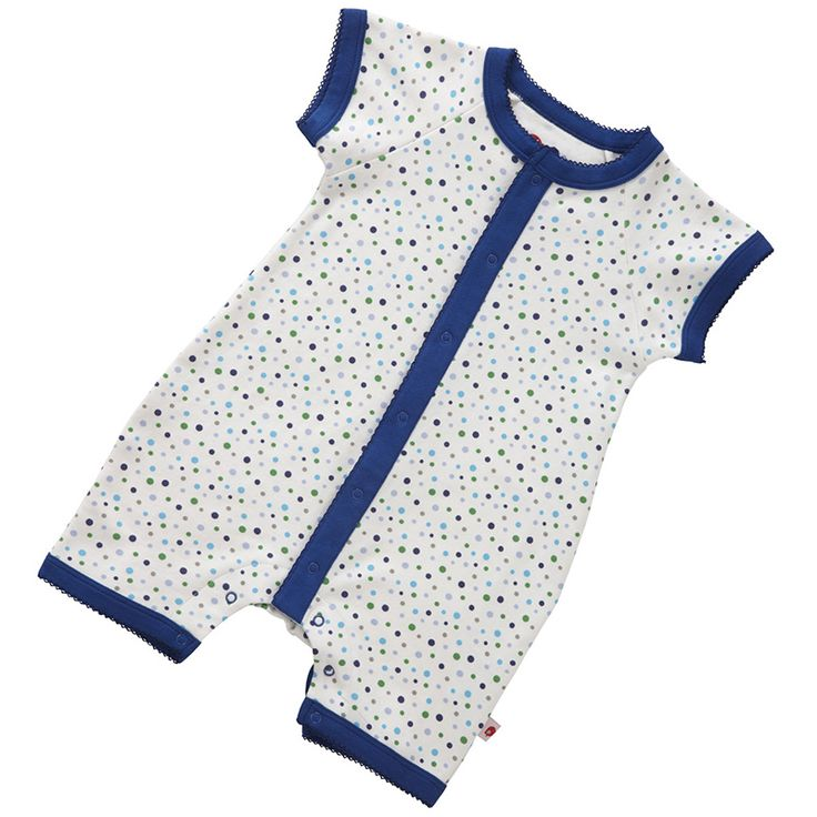 Gorgeous spotty short sleeved playsuit beautifully finished with contrast picot trims